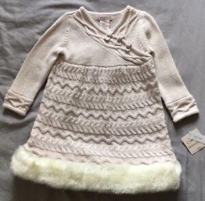 3ed1c5c57 Image is loading Catherine-Malandrino-Mini-Girls-Winter-Dress-Pink-Silver-