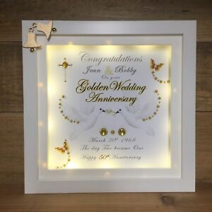 Led Light Box Personalised Box Frame Golden Ruby Silver Wedding