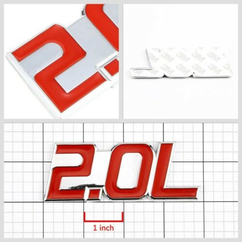 Red//Chrome 2.0L Sign Turbo Engine Badge Emblem Metal Decal Plate w// 3M Tape