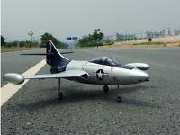 Rc Lander Edf F9f-2 Panther Jet Plane Kit - Silver, Blue Tail - Us Stocked