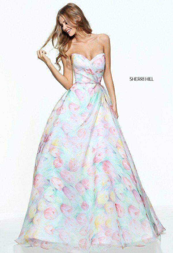 Sherri Hill Dress 50934 Size 6 Ivory/Print