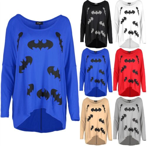 Womens Ladies  Oversized Batman 3//4 Sleeve Stretchy T Shirt Dipped Hem Baggy Top