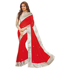 Sunsilk Designer Embellished Red Chiffon Saree With Golden Blouse