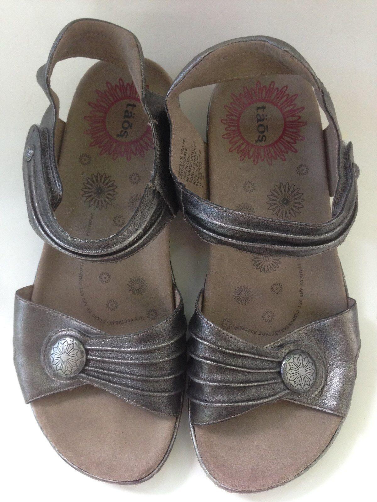 Taos para mujer Escape Estaño Con Tiras Sandalia cómoda ajustable de plata tamaño del zapato 9