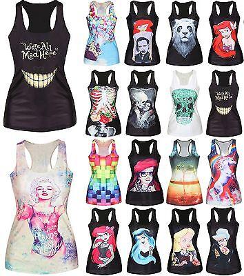 Women Print Vest Tank Tops Blouse Sweatshirt Club Wear Party T-Shirt Tee Singlet