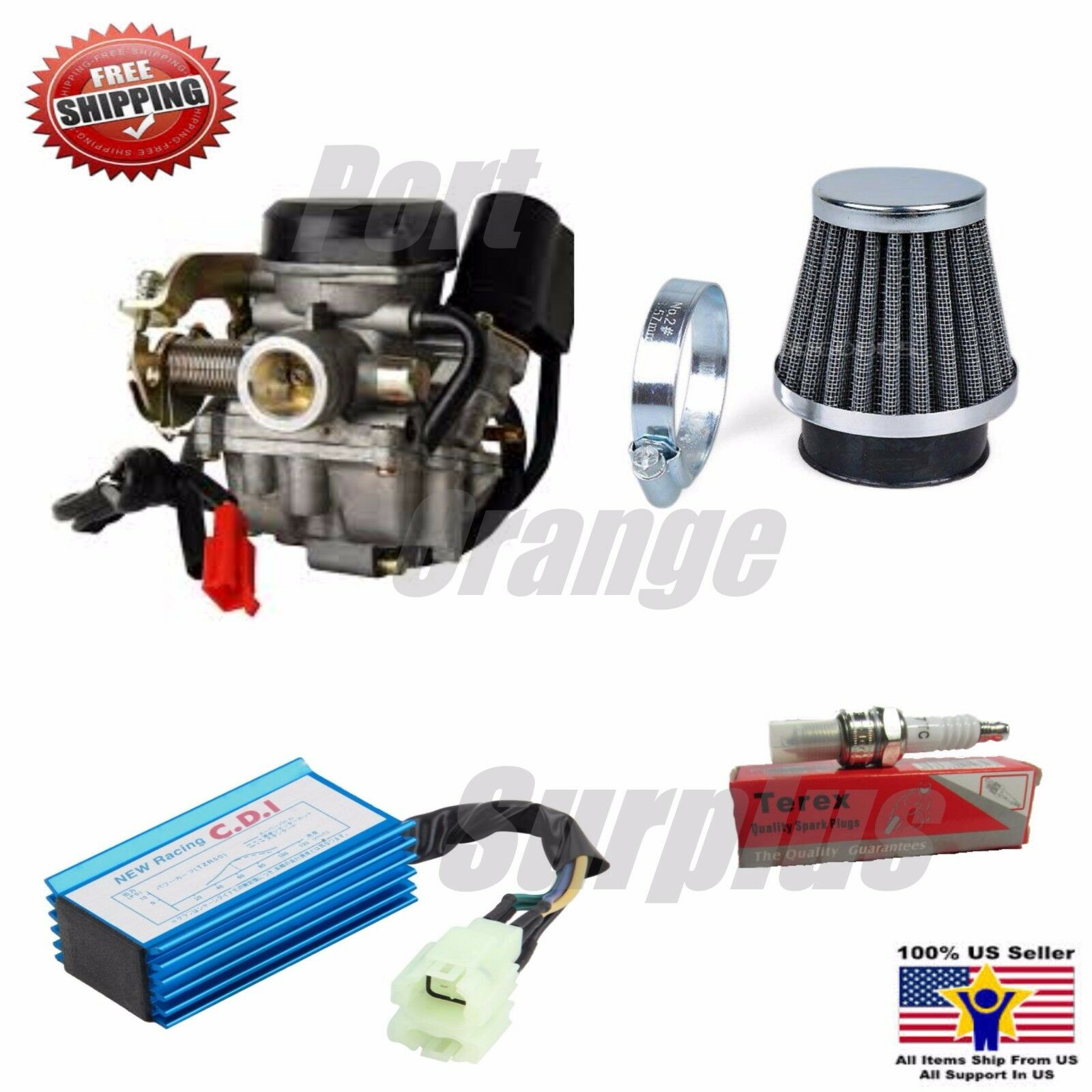 Details about PD19J Carb Gy6 60cc 50cc 49cc UPGRADE Performance Kit Air  Filter CDI Spark Plug