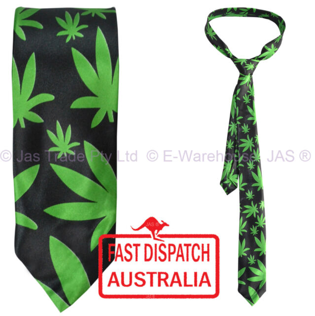 Satin Skinny Party Dance  Hippie Costume Neck Tie CANNABIS Weed marijuana leaf