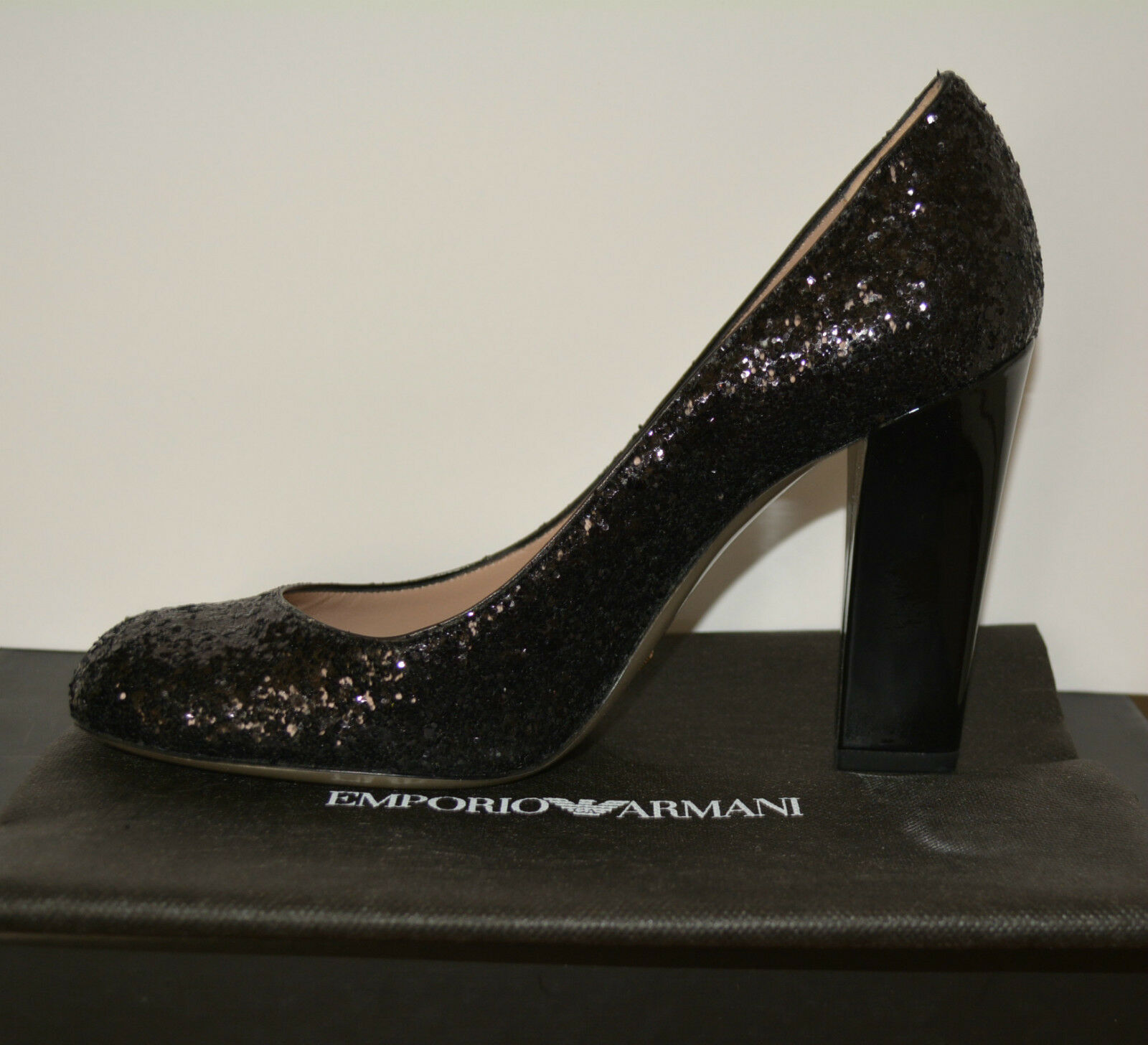 NIB EMPORIO ARMANI  GLITTER PUMPS SHOES SZ US 10 MADE IN ITALY