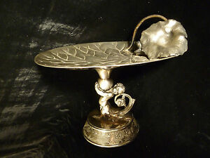 ART NOUVEAU SILVER PLATED LILY PAD CALLING CARD TRAY - CHERUB FIGURAL STEM 1905
