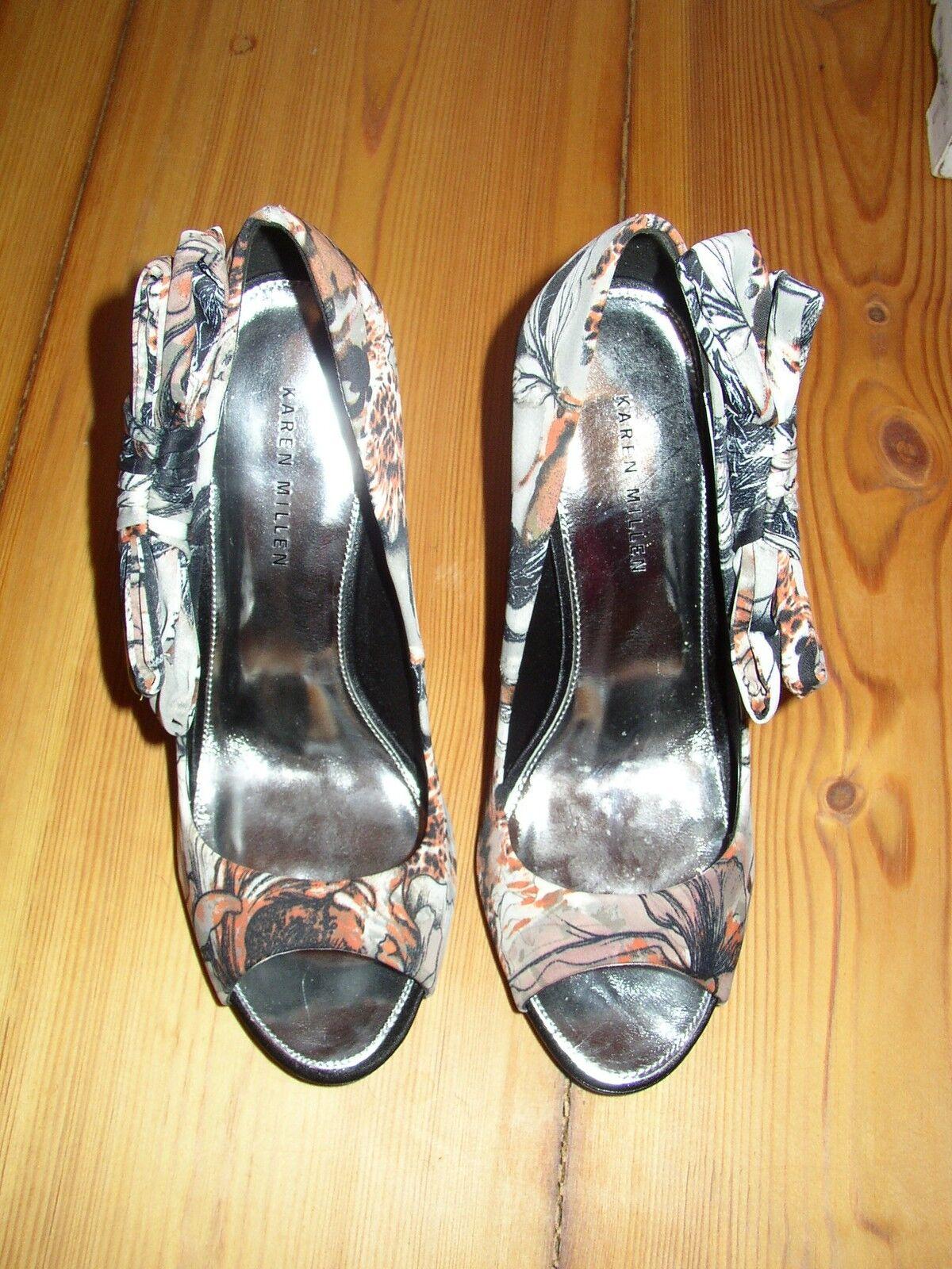Karen Millen Schuhe Gr. 38 NEU Pumps Schuhe Millen Highheels mit Schleifen Absatzschuhe bunt 678a04