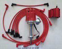 Small Cap Mopar 1959-1972 383 400 Red Hei Distributor, Coil & Spark Plug Wires