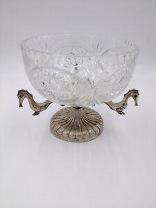 Alzatina fruttiera centrotavola in cristallo con base e anima in metallo