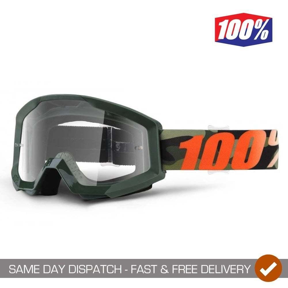 100% Strata Motocross Mountain Bike MTB Goggles - Huntsitan Camo With Clear Lens