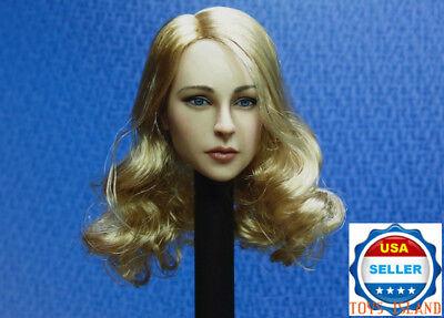 """1//6 Female Head Sculpt cheveux blonds BT017 pour 12/"""" Figurine Phicen Hot Toys ❶ USA ❶"""