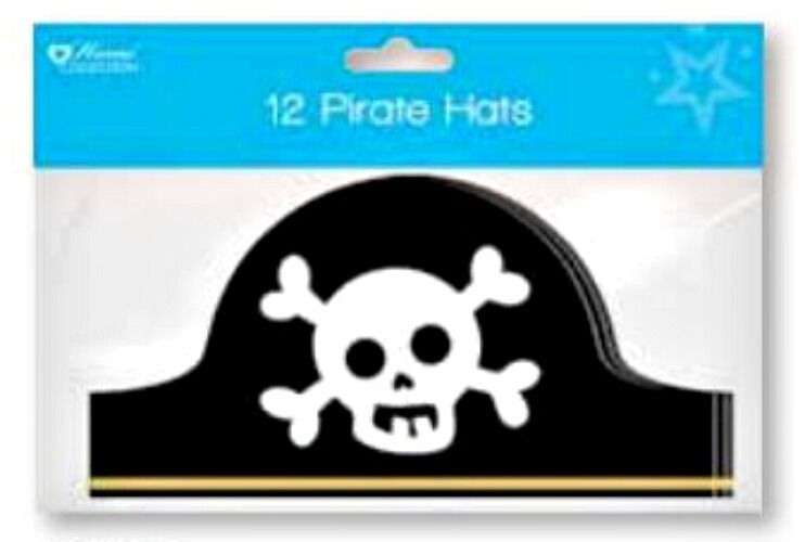 12 small PIRATE HAT kids paper Party birthday costume fancy dress Capitan Hook