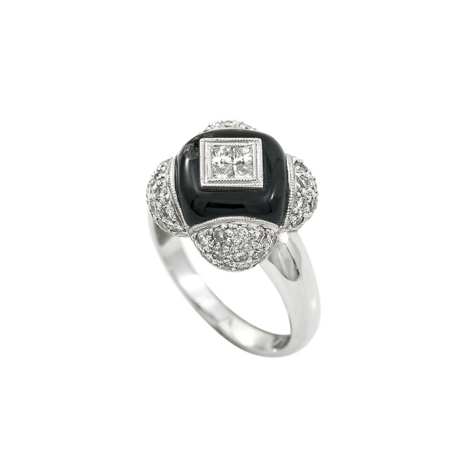 18K White gold 1Ct G VS1 Diamond Onyx Ring 7.8 Grams Ring Size 7.25