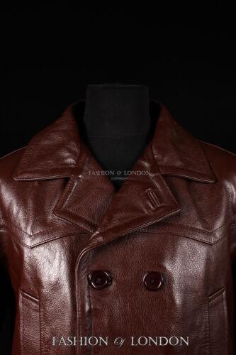 Men/'s KRIEGSMARINE Brown  German U-Boat WW2 Hide Leather Jacket Pea Coat