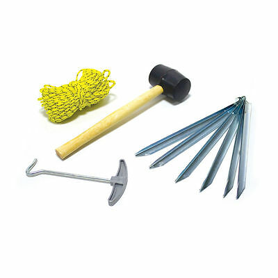 Pegs /& Extractor Mallet 4 x 5m Guy Ropes Camping Set Tent Accessory Set