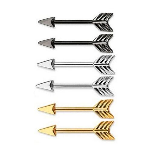New Nipple Ring Bars Stainless Steel Arrow Nipple Barbell Ring Body Jewellery UV