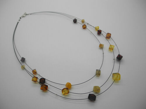 Natural Baltic amber pieces necklace on black color wire