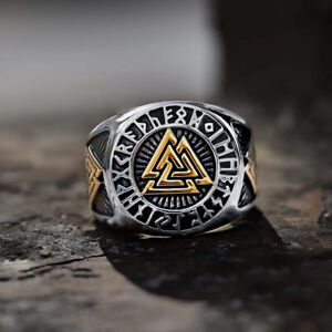 Viking Men's Two-Tone Stainless Steel Amulet Ring Triangle Odin Vegvisir Rings