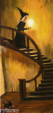 5x10 PRINT OF PAINTING HALLOWEEN WITCH RYTA BLACK CAT GHOST GOTHIC ART GHOUL