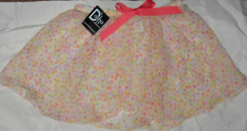 NWT Girls S//M Ballet skirt tiny dots pullup mockwrap bow accent Georgette