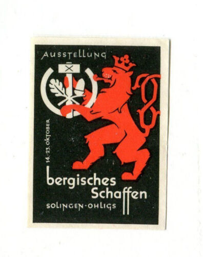 Poster Stamp Label Ausstellung Bergishces Schaffen Exhibition Germany LION