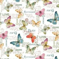 Butterflies, Watercolor Pastels, White Back, Rainbow Seeds, Wp (by 1/2 Yard)