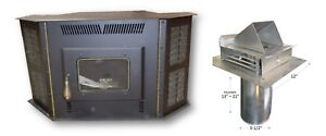 CORN-STOVE-50-000-BTU-039-s-Direct-Vent-Fireplace-Insert-Freestanding-w-Vent-Pipe