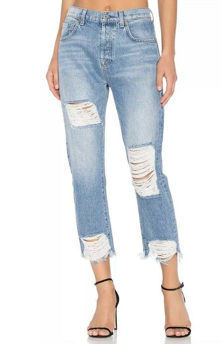 Women's 7 For All Mankind High Wasit Josefina Skinny Boyfriend Jeans Sz 25
