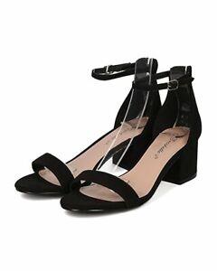 0b47bb053d249 Breckelles Aileen Black Faux Suede Open Toe Chunky Heel Ankle Strap ...