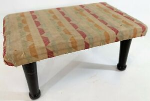 "Antique 1930 Handmade Primitive Wood Woven Cotton 14"" Sewing Foot Step Stool"