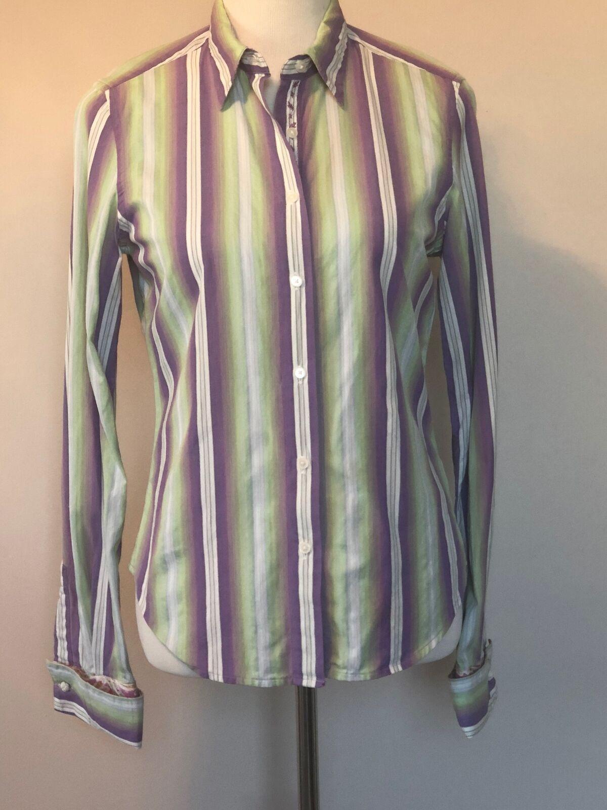 EUC ROBERT GRAHAM Button Front lila Grün Striped Cuffed Shirt SZ 6
