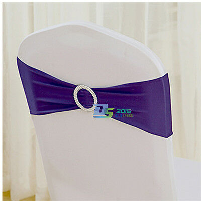 50 x Stretch Wedding Chair Cover Band With Buckle Slider Sashes Bow Decorations