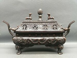 Collect noble Fengshui copper bronze dragon Statue Hollow out Big Incense burner