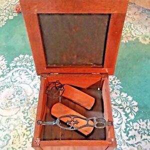 Antique-Oak-Shoe-Shine-Box-Stool-Footrest-with-Cast-Iron-Foot-Rest