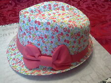 pink flower headwear fedora hat girls coral easter toddler child infant-6 yrs