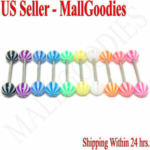 W054-Acrylic-Tongue-Rings-Bars-Barbells-Stripes-Shape-Design-LOT-of-10-colors