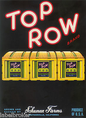 CRATE LABEL VINTAGE ORIGINAL 7X9 TOP ROW WATSONVILLE CALIFORNIA 1950S OLD CRATES