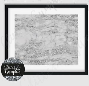 Abstract Fashion Art grey marble silver glitter effect wall art print decor