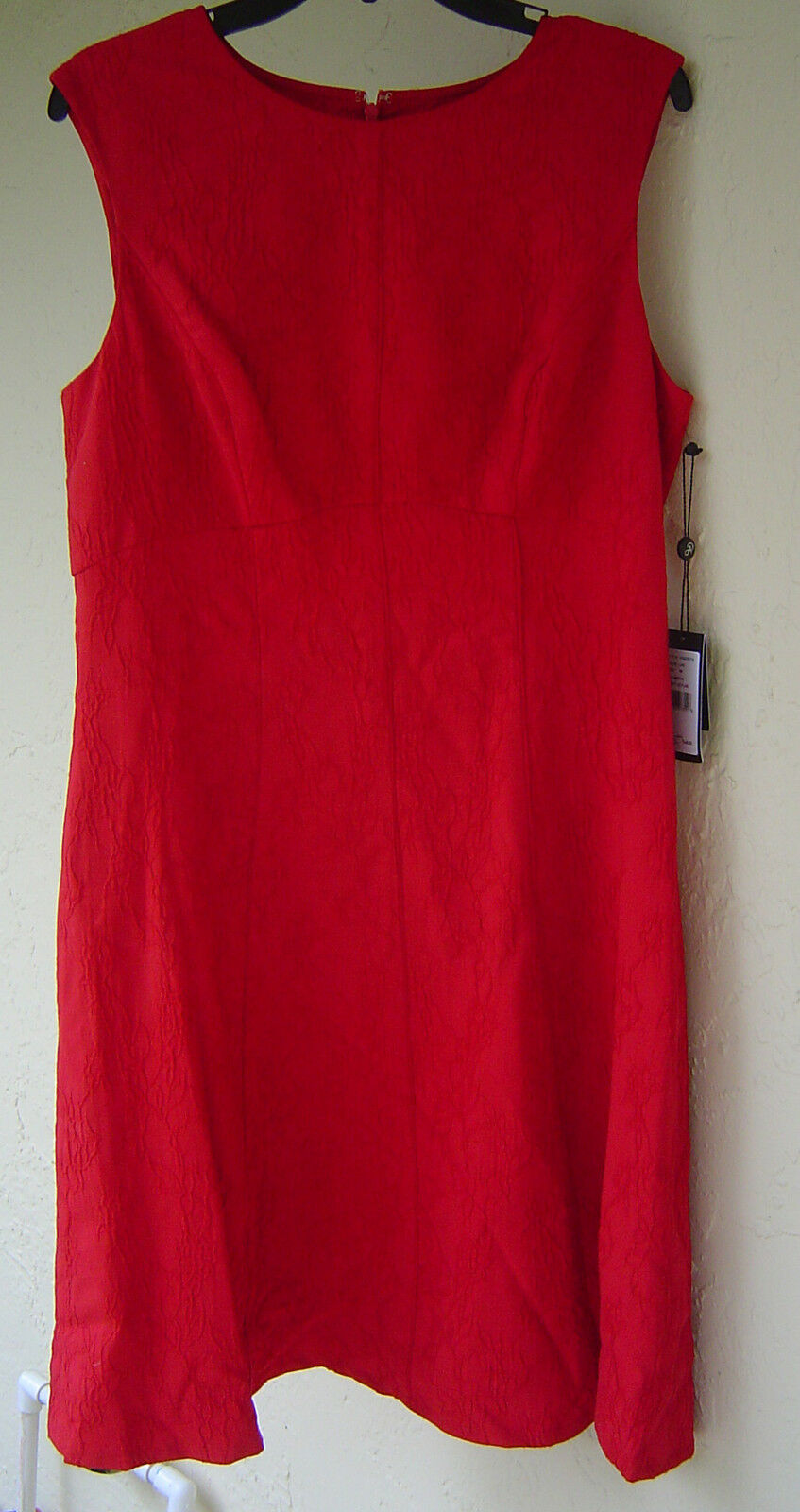 NWT ADRIANNA PAPELL RED EMPIRE WAIST LINED DRESS SIZE 14