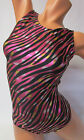 FlipFlop Leos Gymnastics Leotard,  Gymnast Leotards - PINK ZEBRA ON BLACK