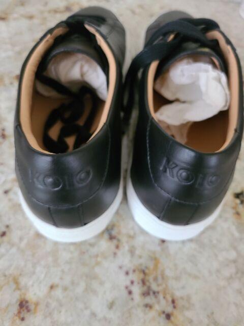 New Men's Koio Low Top Capri Onyx Black Leather Shoes Size 43