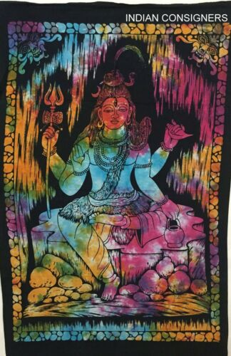 Multi Color Wall Hanging Lord Shiva Pattern Small Size Tapestry Poster Indian
