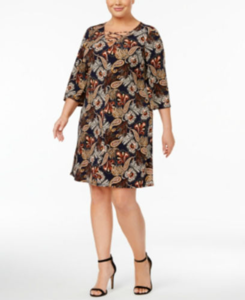Jessica Howard Plus Size Printed Lace-up Dres Brown Multi 22w