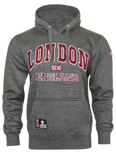 16sixty Mens UK Flag London England Embroidered Fleece Pullover Hoodie Top S-XXL