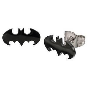 Dc Comics Batman Logo Cut Stainless Steel Post Stud Earrings