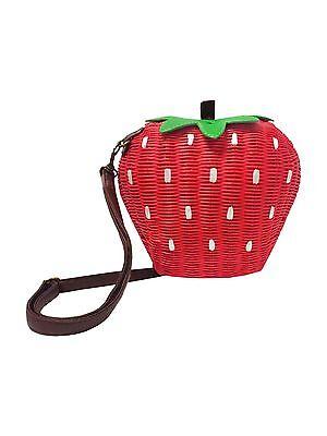 Collectif STRAWBERRY Erdbeere 50s Wicker Bag / Bast Tasche  Rockabilly