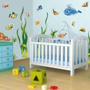 Details zu Wandtattoo Unterwasserwelt Kinderzimmer 2 Bögen lustige Fische  Sticker Aquarium